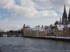 Steinerne Brücke und die schneebedeckte Altstadt