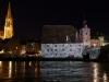 Lichtinstallation am Welterbetag, Salzstadl, Steinerne Brücke und Dom